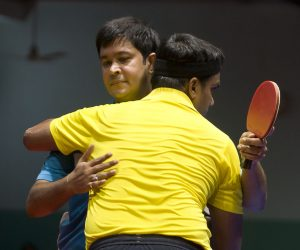 1-Debdoot-Chatterjee-congratulating-by-hugging-Kaushik-De-Sarkar-after-the-later-won-the-title-of-mens-single-300x250 9th All India Defence Account Department Table Tennis Tournament Concludes